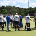 Letzte Besprechung mit Bundestrainer Achim Mertens vor dem Eröffnungsspiel gegen Wales
